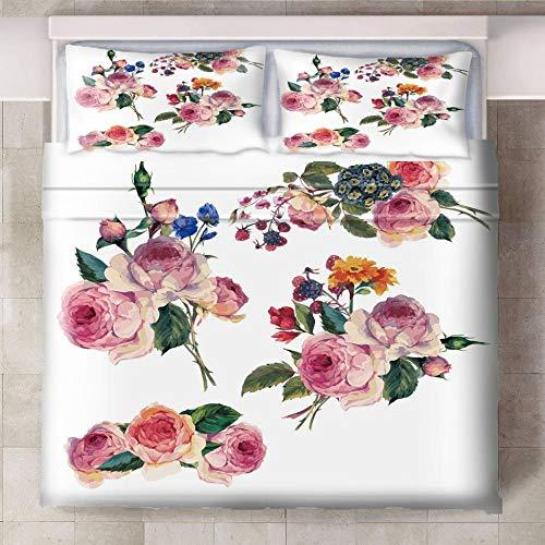 HYBWSO Funda de Edredón para 3D Flor de peonía Verde Rosa Blanca Juego de Cama 100% Poliéster Suave Transpirable Cierre de Cremallera 140cmx200cm 2 Fundas De Almohada