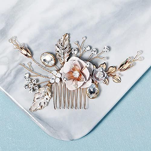 Bridal Hair Pieces Para Las Ocasiones De La Boda,Peine de pelo de rhinestono nupcial (Oro), Peine de pelo de cristal de hoja de flores hecho a mano, Pieza de pelo de boda Pieza de pelo accesorios par