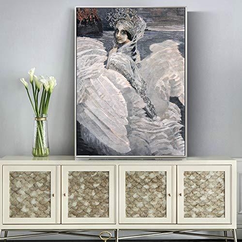 wZUN Famoso Pintor Ruso Swan Princess Lienzo Pintura Carteles clásicos e Impresiones Pintura Decorativa para Sala de Estar 60X90 Sin Marco