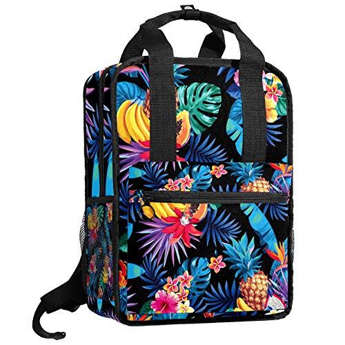 Bonita bolsa universitaria de moda casual mochila de viaje para niñas y adolescentes, frutas tropicales, hojas de palma y flores