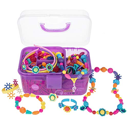 POMIKU Pop Beads Jewelry Making Kit for Age 3, 4, 5, 6, 7 Year Old Girls Gift, Arts & Crafts Toy for Kids DIY Bracelets, Necklaces, Hairbands and Rings (530pcs Snap Beads)
