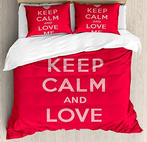 Juego de funda nórdica Keep Calm 3 PCS, Love Me Saint Valentine 's Day Frase temática de amor para parejas románticas, Juego de cama Colcha para niños / adolescentes / adultos / niños, Scarlet
