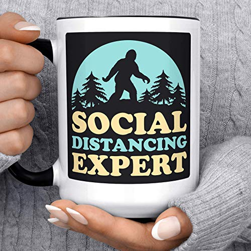 NA Tazza da caffè a Distanza Sociale Tazza in Ceramica bifacciale Divertente Yeti Bigfoot Expert per microonde