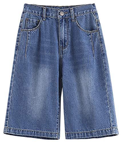 ZRFNFMA Chicas Denim Pantalones Cortos Vida de Verano Pantalones de Cinco Puntos Pantalones Cortos de Mezclilla Delgados All-Match Shorts Niños Chicas Pantalones de Pierna a blue-160cm