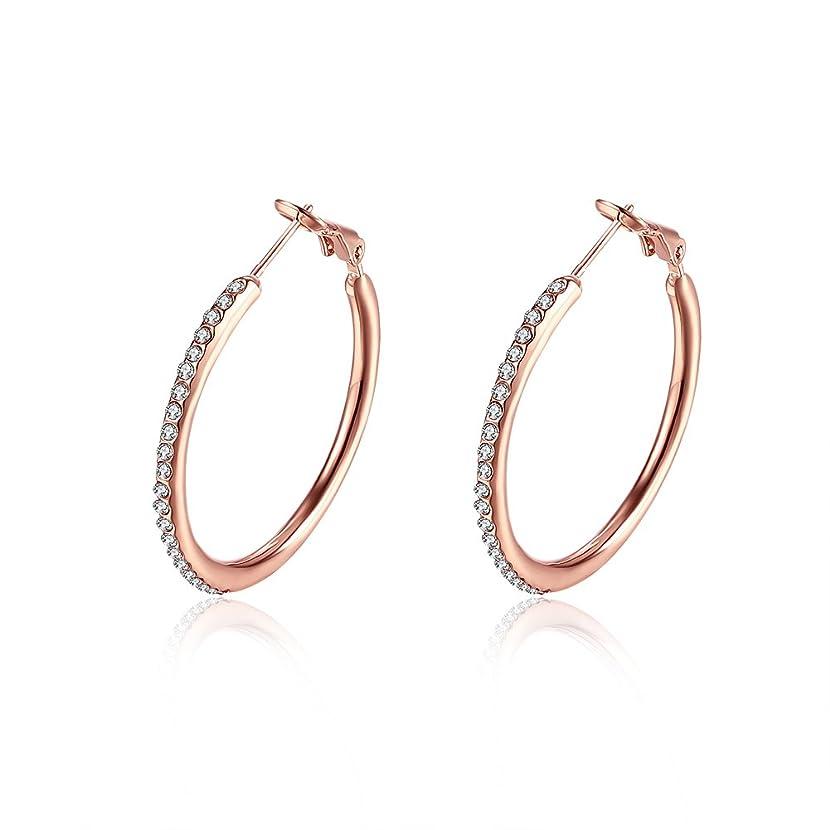 35mm Huggie Circle CZ Hoop Earrings, Hypoallergenic Stainless Steel Cubic Zirconia Rhinestone Crystal Round Stud Hoops For Women Girls Sensitive ears
