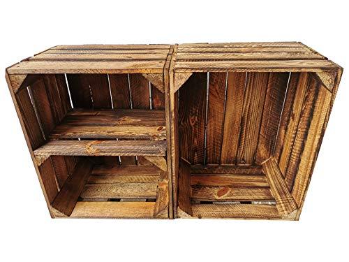Alte geflammte Obstkisten/Holzkisten in vielen Variationen -Ideal zum Möbelbau oder zur Aufbewahrung- Sehr massiv und stabil verarbeitet (2er Set / 1 x Boden Quer)