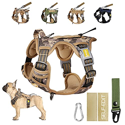 PETAGE Tactical Car Dog Harness No Pull,Reflective Military Dog Harness, Service Dog Harness Including Seat Belt , Adjustable Working Pet Harness for Small Medium and Large Dogs(Marine Desert,S)