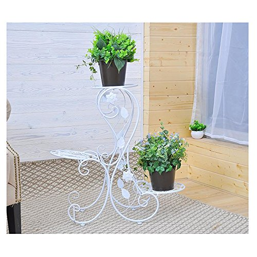 QFF Étagère à fleurs balcon à plusieurs étages style européen en fer à repasser en acier / étagère créative fleur pot rack /
