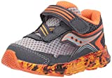 Saucony Boy's Ride 10 Jr Running Shoe, Grey/Orange Flame, 5 Little Kid