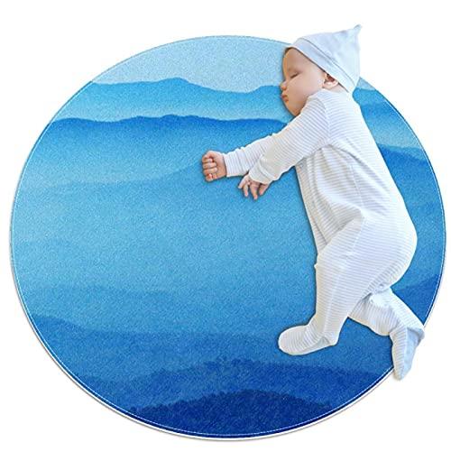 chuangxin Alfombra decorativa sala de estar redonda alfombra niña alfombra yoga alfombra lavable sala de estar alfombra azul montañas
