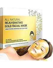 Premium Hydrogel Gold gezichtsmaskers voor huidverzorging en schoonheid, hydraterend en anti-aging - gezichtsmasker met collageen, hyaluronzuur en 24-karaats nano-goud