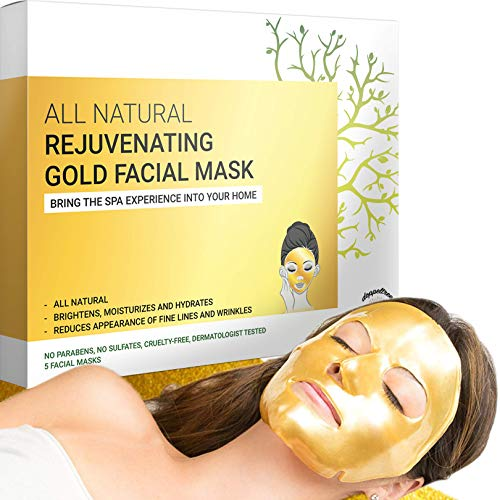 Gold Facial Mask - Premium Hydrogel Sheet Face Masks for Skin Care & Beauty, Hydrating & Anti Aging - Facemask with Collagen, Hyaluronic Acid & 24k Nano Gold - Formulated in San Francisco