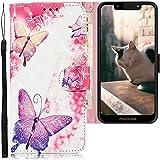 CLM-Tech Hülle kompatibel mit Motorola Moto G7 Play - Tasche aus Kunstleder - Klapphülle mit Ständer & Kartenfächern, Schmetterlinge rosa lila