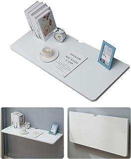 DFBGL Petite Table Pliante à Fixation Murale Table Murale Blanche avec Trou de Fil, Bureau Mural Pliant, 2 Supports métall...