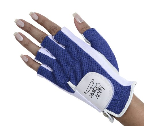 Lady Classic Half Glove (Left Hand), White and Royal Blue, Large
