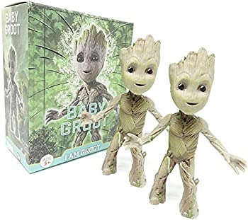 LINSAN 2Pcs Groot Tiny Cute Baby Tree Man Action Figure Toys,POP Movies Hero Model Doll Toy Guardians of The Galaxy Boy&Girl Gift