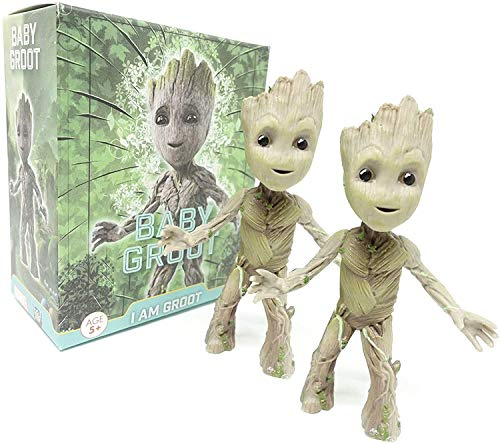 2Pcs Groot Tiny Cute Baby Tree Man Action Figure Toys,POP Movies Guardians of The Galaxy Toddler Groot Toy Figure Decorations