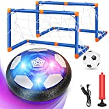 Magicfun Kids Toys Hover Soccer Ball Set, Rechargeable Air Soccer Fun Toys with 2 Goals, LED Light and Foam Bumper for Boys Girls Indoor Outdoor Games, Including an Inflatable Ball