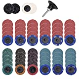 KEILEOHO 65 PCS 2 Inch Quick Change Sanding Discs Set with 1/4 Inch Shank, Surface Conditioning Abrasive Discs for Die Grinder, Surface Prep, Strip Grind, Polish & Rust Paint Removal