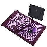 TOMSHOO Esterilla de Acupresión Kit de Fibra Coco,Estera de Masaje de Yoga con 2Pcs Bolas para el Alivio del Doloroga Insomnio Alivio Muscular Relajación