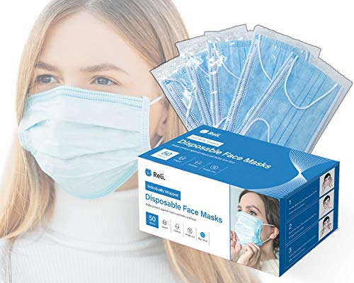 Reli. Face Masks Individually Wrapped (50 Masks) Disposable Face Mask, 3 PLY Protection with Filter Layer - Breathable, Ear Loop - Face Protection Mask, 50 Pack - All Masks Individually Wrapped (Blue)