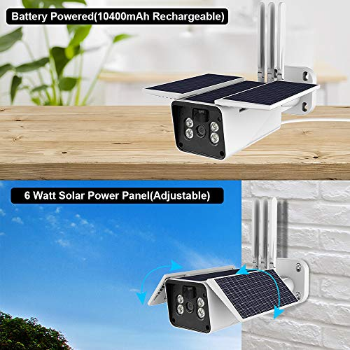Wireless Outdoor Security Camera Solar Battery,FUVISION 1080P Home Security Camera,IP66 Waterproof,Night Vision,10400mAh Battery,2-Way Audio,Motion Detect and SD Card Slot Cameras for Home Security
