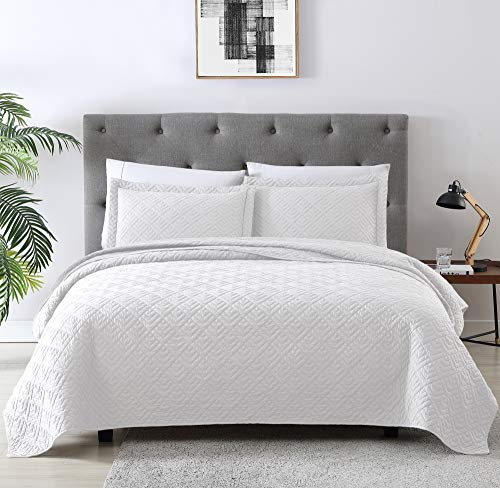 EXQ Home Quilt Set Full Queen Size White 3 Piece,Lightweight Microfiber Coverlet Modern Style Squares Pattern Bedspread Set
