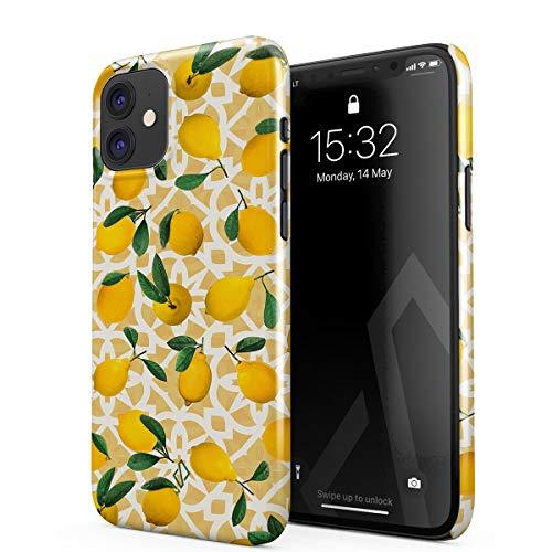 BURGA Hülle Kompatibel mit iPhone 11 - Handy Huelle Yellow Lemon Zitrone Zitrusfrüchte Citrus Exotisch Tropisch Geld Sommer Dünn Robuste Rückschale aus Kunststoff Handyhülle Schutz Hülle Cover