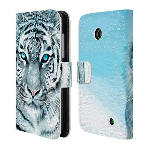 Head Case Designs Ufficiale Aimee Stewart Tigre Bianca Animali Cover in Pelle a Portafoglio Compatibile con Nokia Lumia 630