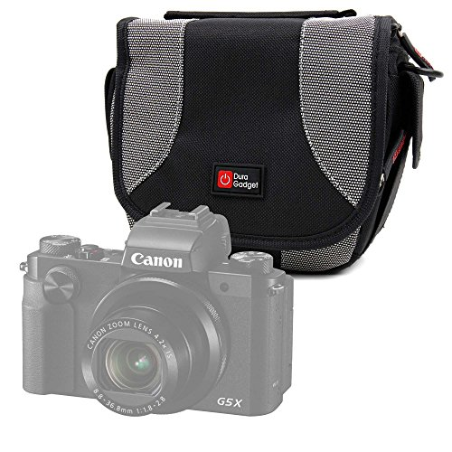 DURAGADGET Bolso Negro Y Gris para Cámara Digital Canon PowerShot SX430 IS, PowerShot SX730 HS y Panasonic Lumix DC-TZ9