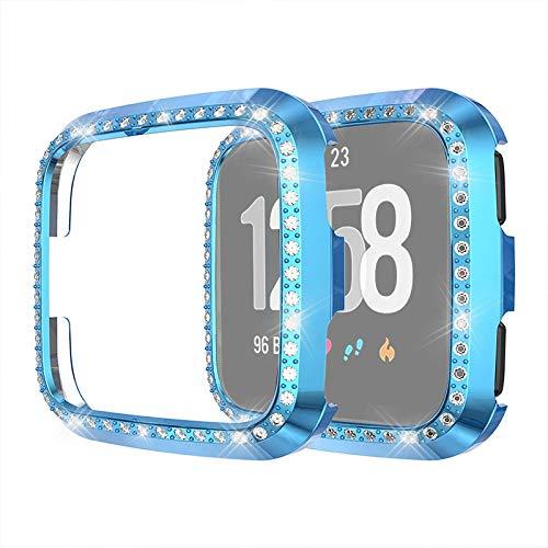 YANTAIAN For la Caja Protectora del Diamante Fitbit Versa/Versa Lite Elegante Universal del Reloj de la PC (Color : Blue)