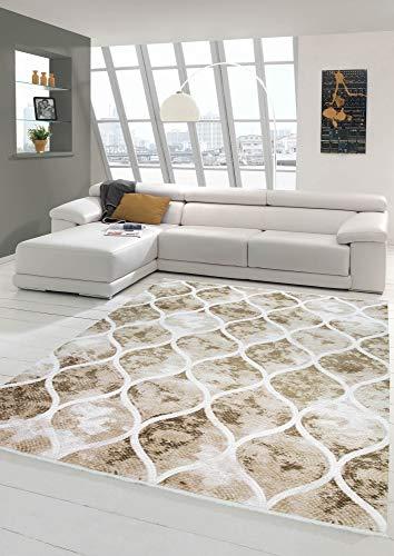 Tapis Design en Laine Style marocain Beige crème Brun Größe 160x230 cm