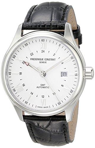 Frederique Constant GMT Schweizer Automatikuhr für Herren mit silberfarbenem Zifferblatt, schwarzes Lederarmband, FC-350S5B6