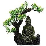 POHOVE Estatua de Buda de resina para acuario, decoración de peces, estatua de Buda bajo el árbol, estatua de Buda sentado bajo el agua, paisaje escondite de resina