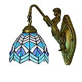 Apliques de pared Lámpara de pared estilo Tiffany, luz de pared Tazón de sombra de 6 pulgadas Diseño de plumas Vidriera de pared Lámpara Sconce Industrial Retro -Azul Lámpara de pared