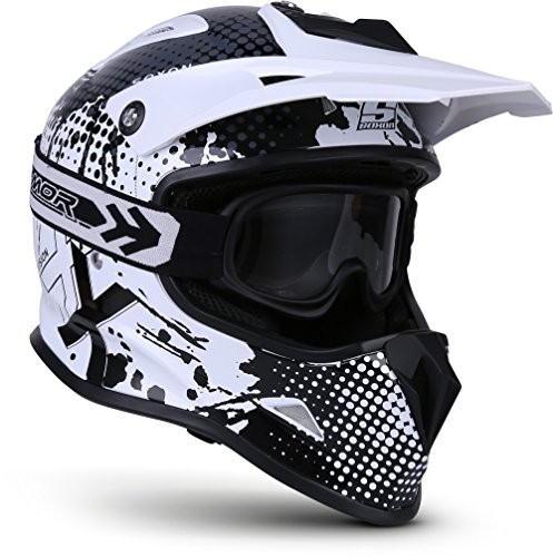 "SOXON® SKC-33 Set ""Fusion White"" · Kinder Cross-Helm · Motorrad-Helm MX Cross-Helm MTB BMX Cross-Bike Downhill Off-Road Sport · ECE 22.05 Schnellverschluss SlimShell Tasche XXS (49-50cm)"