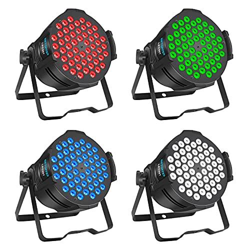 BETOPPER DJ Lights, 54 x 3W Stage Lights RGB 3-IN-1, DMX/Sound Activated DJ Lights, LED Par Lights for Wedding, Party, Disco, Stage Lighting (4 Packs)