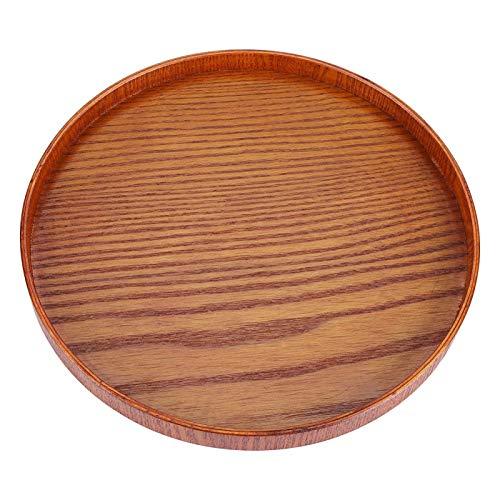 Bandeja de madera para servir, plato de madera, platos para servir alimentos, agua, bebida, plato decorativo, mesa de centro para manualidades de restaurante(Diameter 27cm)