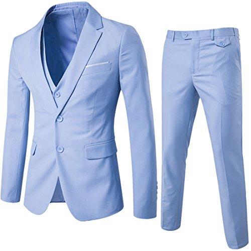 Anzug Herren Slim Fit 3 Teilig Anzüge Herrenanzug Sakko für Hochzeit Business Hellblau X-Large