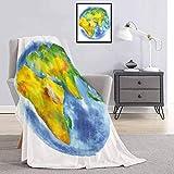 Toopeek Earth - Manta de calidad comercial impresa globo de tierra pintada en acuarelas, cartografía, geografía, continentes, reina, rey, W70 x L84 pulgadas, azul claro, verde y amarillo