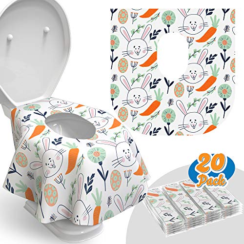 Toilet Seat Covers Disposable - 20 Pack - Waterproof, Ideal for Kids and Adults – Extra Large, Individually Wrapped for Travel, Toddlers Potty Training in Public Restrooms (Easter Bunny, 20)