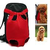 Xiaoyu Mochila Porta Mascotas, Ajustable, sin Manos, con Las piernas Abiertas y Transpirable Mochila portadora Delantera de Gato Perro, Rojo, M