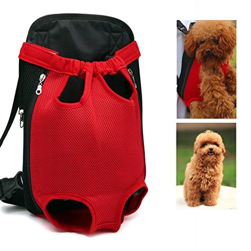 Xiaoyu Pet Carrier hundetasche Träger Bag Haustier Transporttasche Brust Backpack Reise Tragbar Puppy Atmungsaktive Durable-Beine heraus Bag Haustier Hunde Katzen Tragetasche, rot, L