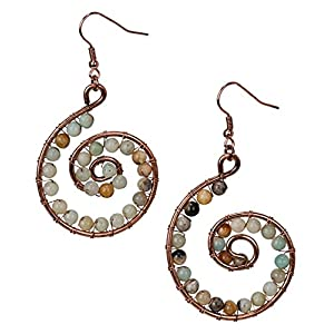 Amazonite Spiral Earrings Copper Rose Gold for Women