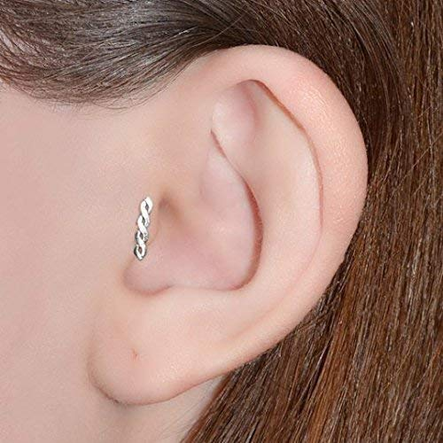 Sterling Silver Cartilage Earring Tragus Nose Ring Eyebrow Hoop Piercing 1PC YK