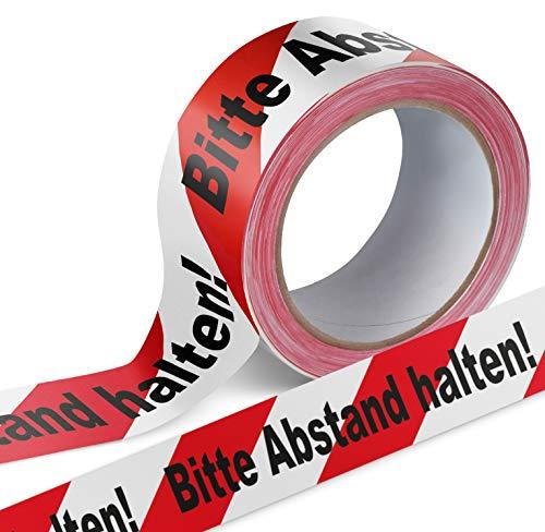 Warnband Klebeband Packband Bitte Abstand halten 1 Rolle weiß mit schwarz-rotem Druck - 50 mm breit x 66 m lang