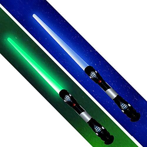 tevenger 2 Stück XXL Lichtschwert Laserschwert Licht Sound Vibration 108 cm Schwert Kostüm Verkleidung Kinder Grün Blau
