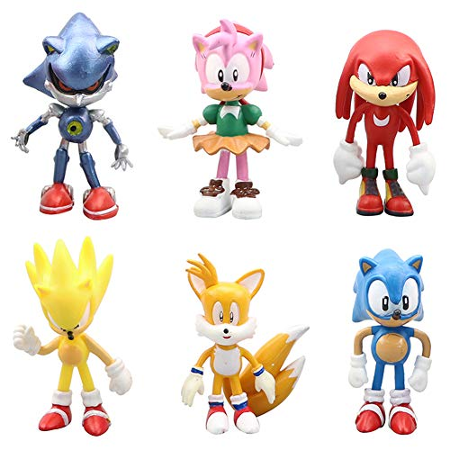 Modelo de Personaje Sónico de 6 PCS, Mini Adornos de Juguete con Figura de PVC, Decoraciones de Muñecas Hechas a Mano para Niños, Coleccionables, Decoración de Pasteles de Cumpleaños