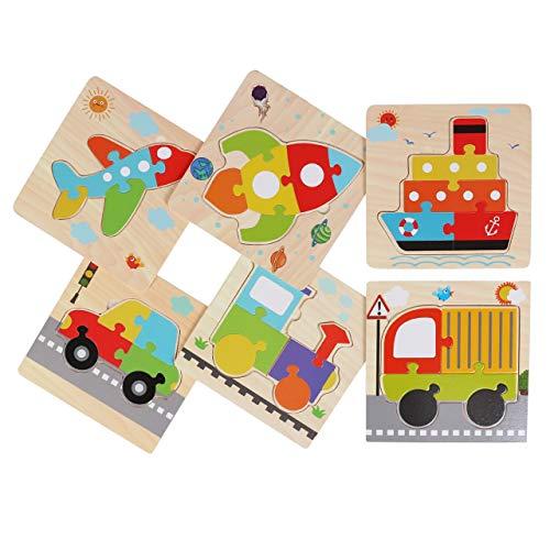 木製パズル 6枚セット おもちゃ 知育玩具 生き物 乗り物 マッチング パズル 型はめ 幼児 木製 (乗り物)