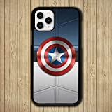 YDHBCH Cover iPhone 12,Black Soft Silicone TPU Phone Case CAPT Ain AME Rica SHIE LD SY MBOL P-007 for Cover iPhone 12